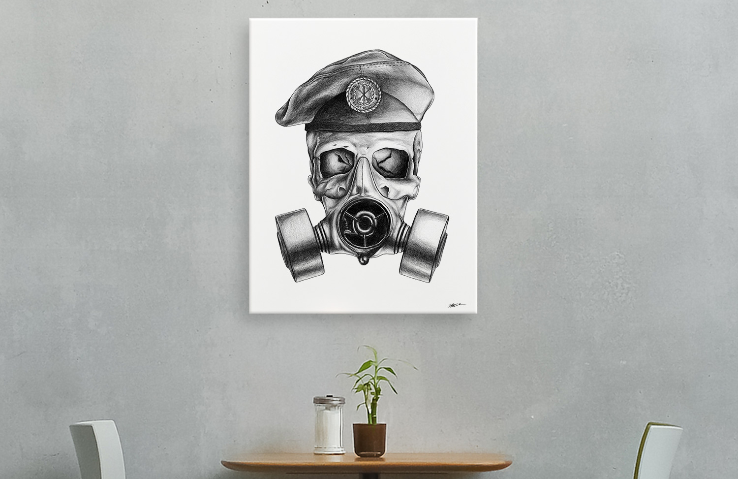 Skull Gasmask Canvas Reality Design