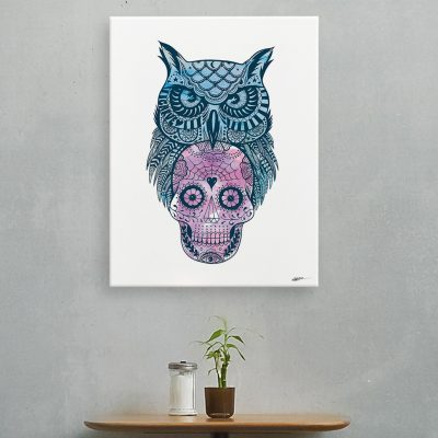 sugar-skull-owl-canvas-reality-design